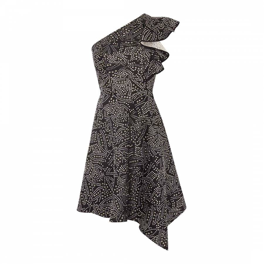bc56cf0c26 Karen Millen Black Jacquard One-Shoulder Dress