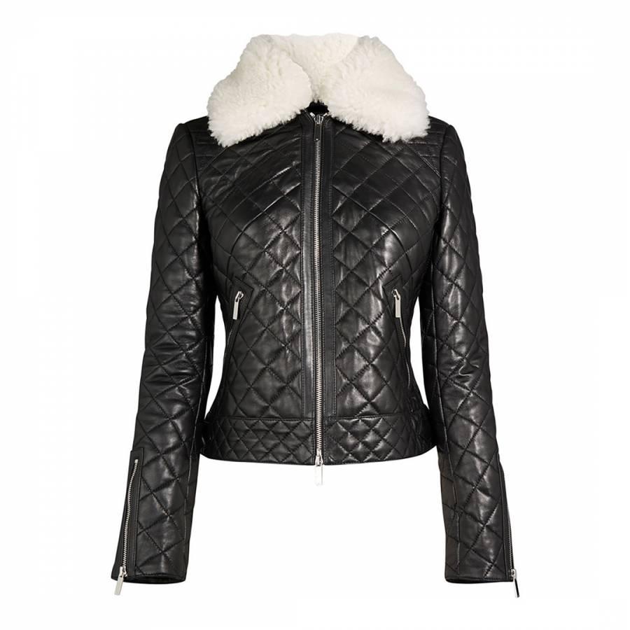 43ef5a2dd31 Karen Millen Black Quilted Leather Jacket