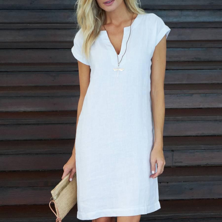 b2eb50919f5 White Dori Linen Dress (No Pockets) - BrandAlley