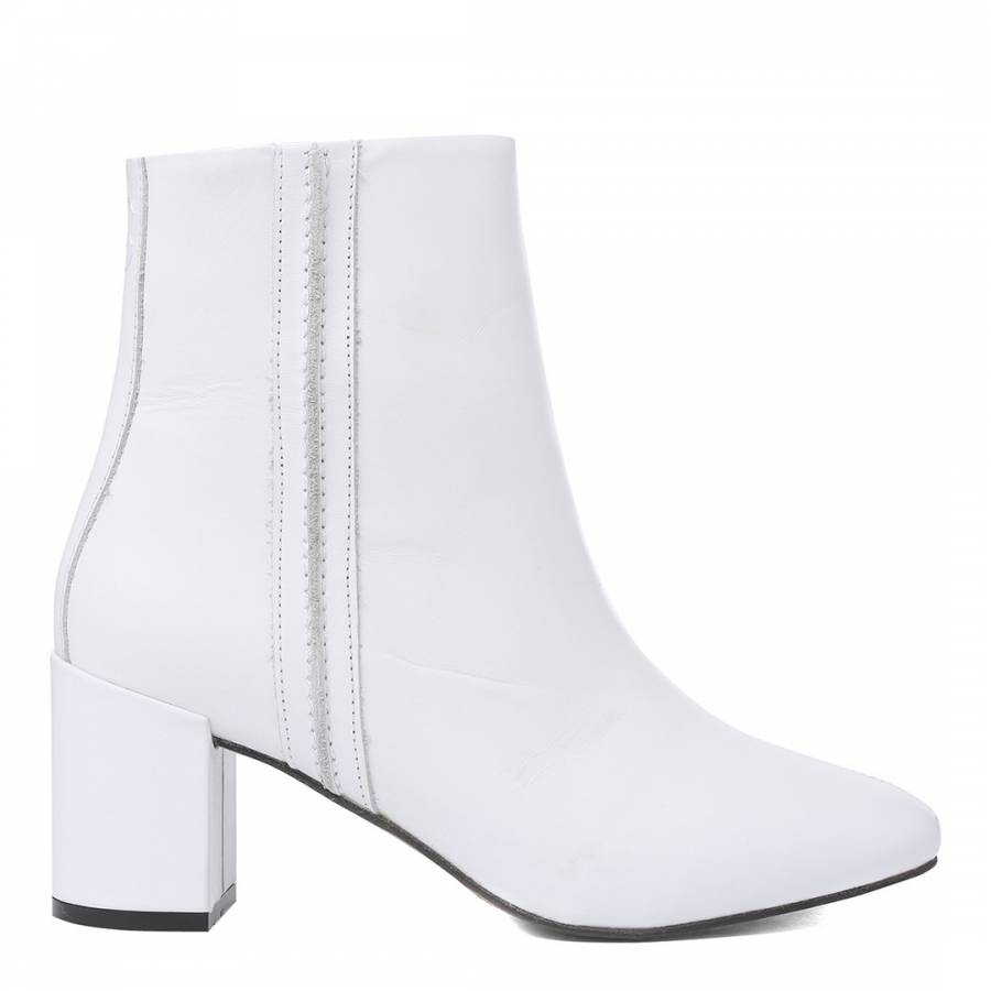 d0b80dea97c8 White Leather Velhote Ankle Boots - BrandAlley