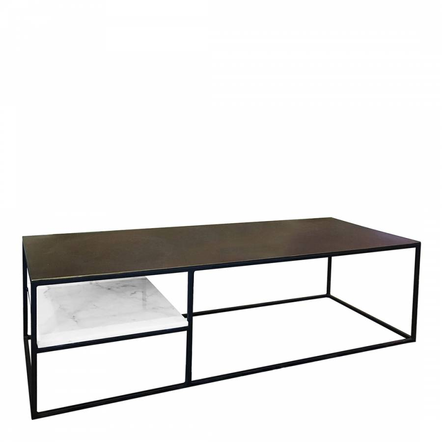 Nail Marble Top Coffee Table: Fera Metal And Marble Rectangular Coffee Table