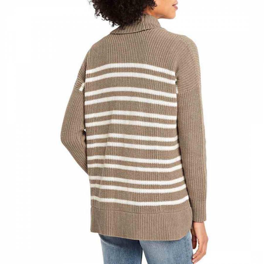 Dark Camel Heather Stripe Regular Drifter Mix Stitch Striped