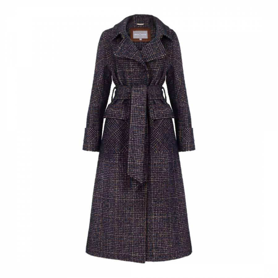 Image of Navy Wool Blend Wren Coat