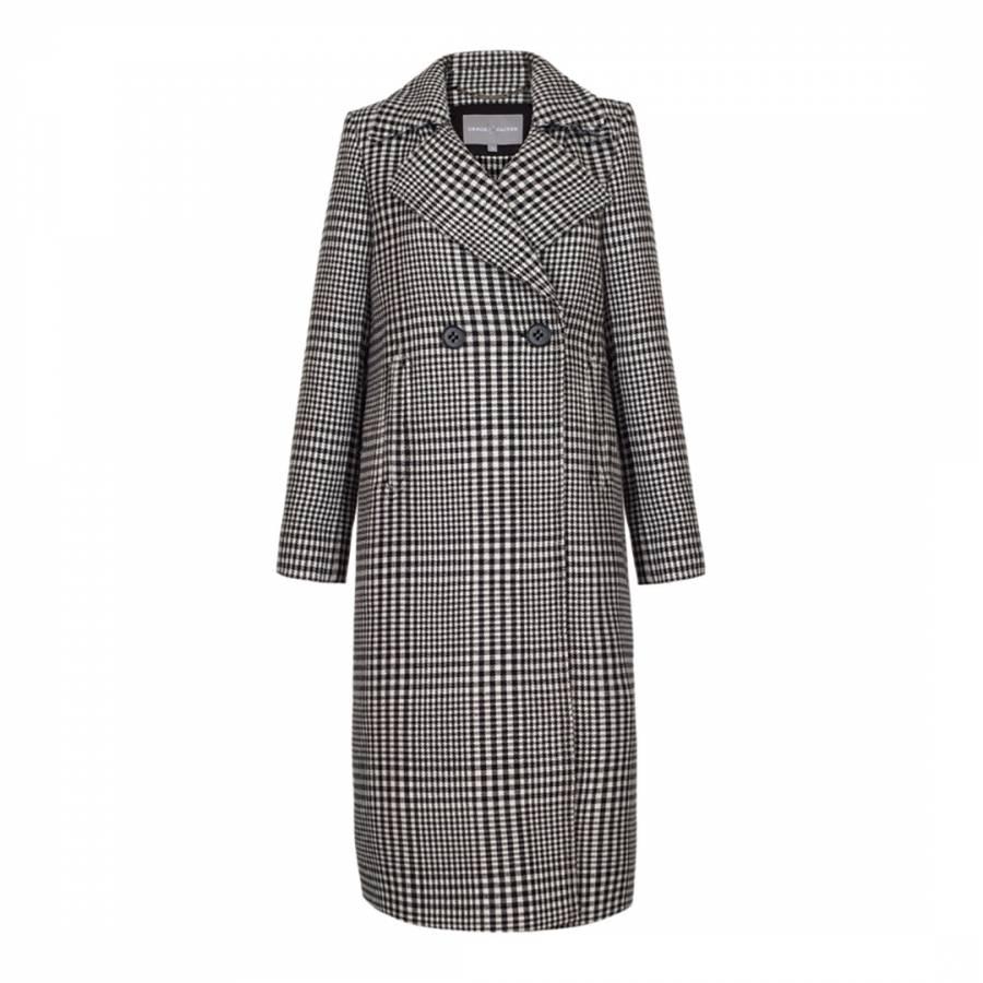 Image of Black/ White Check Wool Blend Emmeline Coat