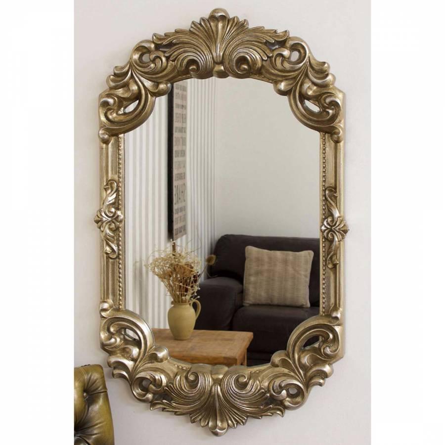 Hardy Antique Silver Rococo Design Wall Mirror 107x66cm