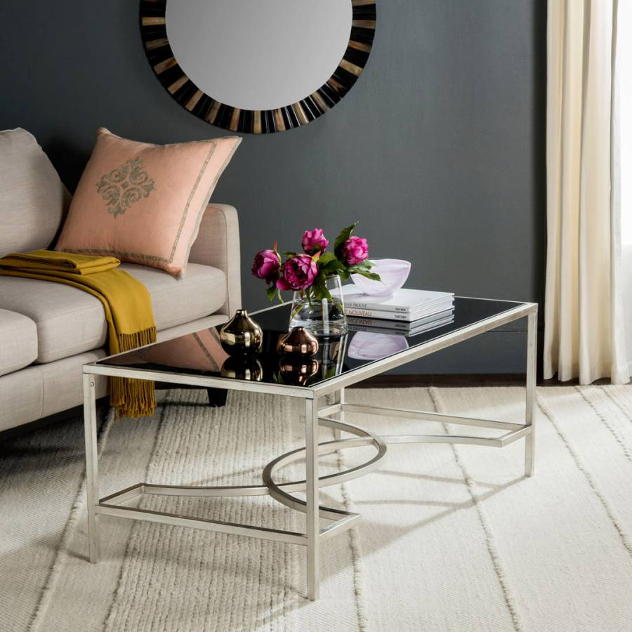 Silver Glass Coffee Table Uk: Peyton Coffee Table, Silver / Glass