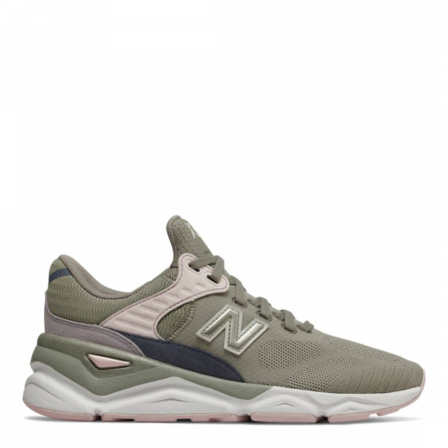 temperament shoes wholesale dealer nice cheap New Balance Olive Green X90 Engineered Knit Sneakers
