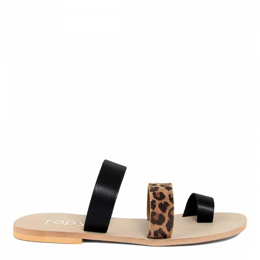 3471b53fb78 Black   Leopard Print Leather Two Strap Sandals - BrandAlley
