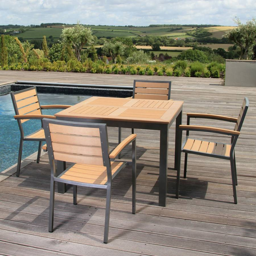 Syn Teak 4 Seater Dining Set With Large Square Table In