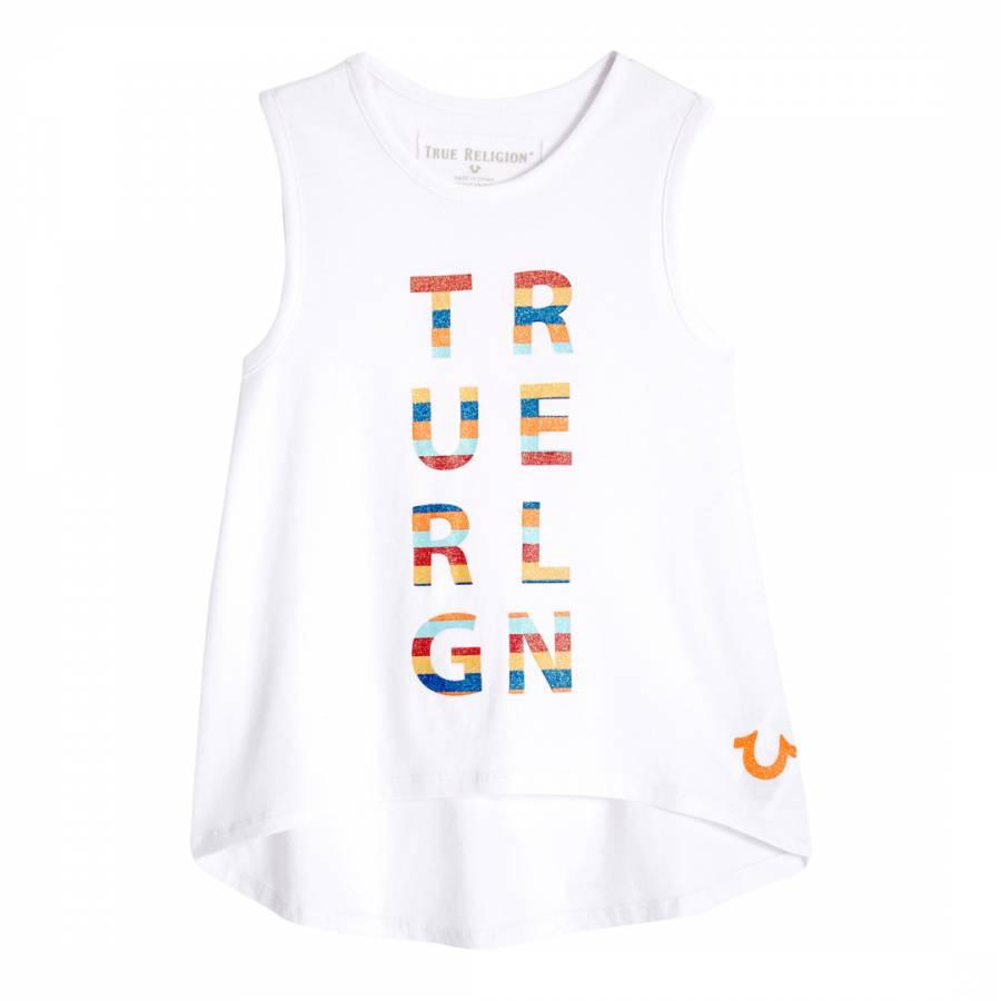 14075f10ceeedb True Religion Stripe Logo White Tank Top
