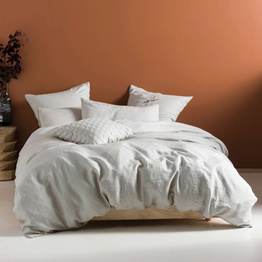 Image of Nimes Linen Single Duvet Cover Set Grey