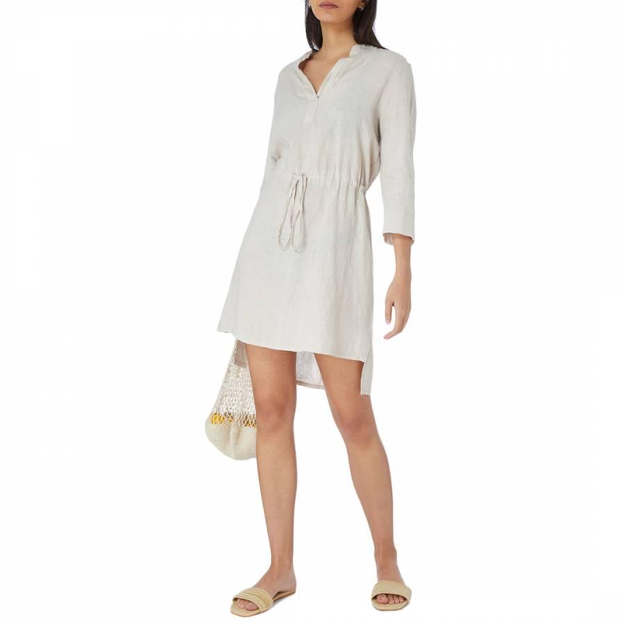 52c3f9aec2f83 Cream Linen Tie Front Dress - BrandAlley