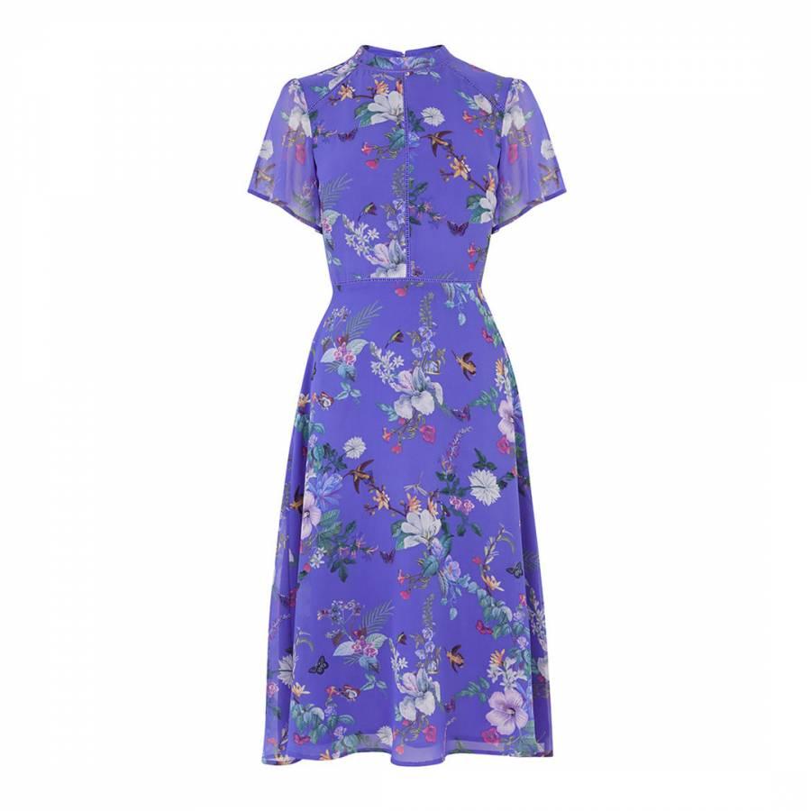 cd0312a5 Multi Blue Bloom Chiffon High Neck Midi Dress - BrandAlley