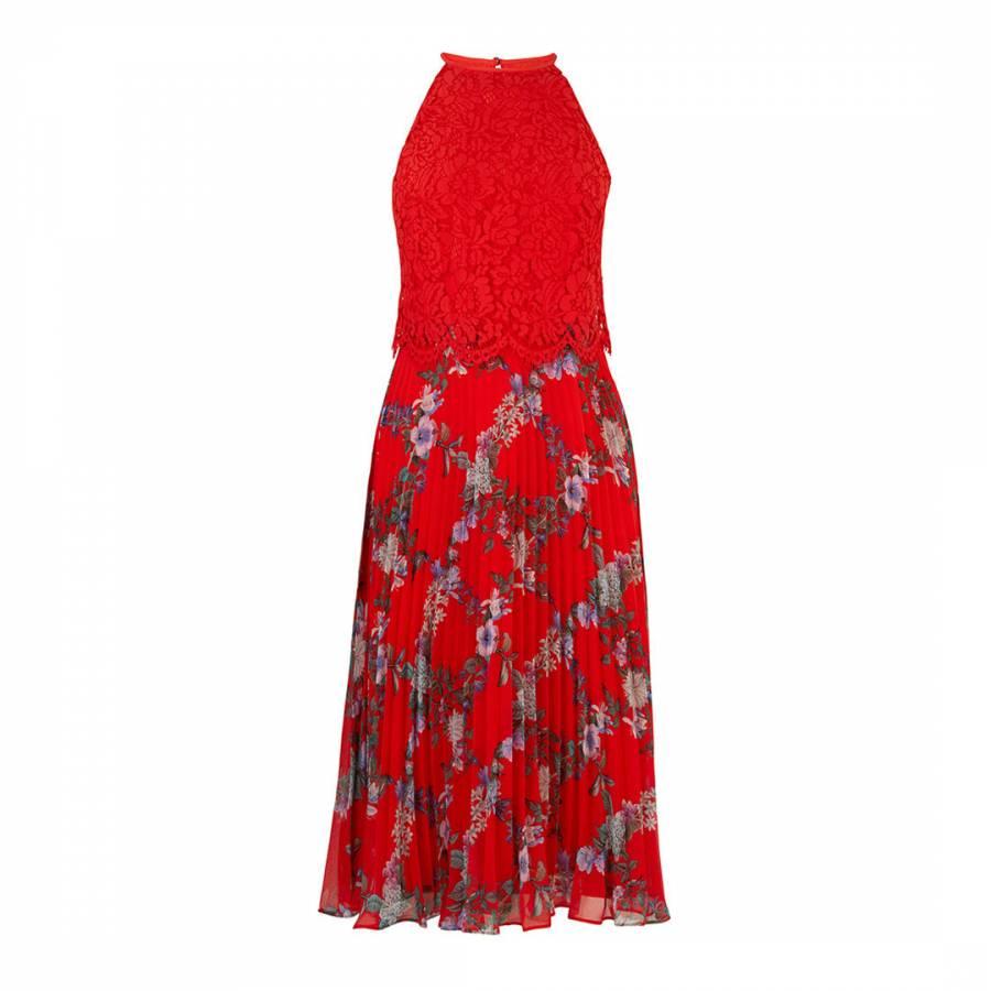 a57ede3f89e Multi Red Bloom Lace Pleated Midi Dress - BrandAlley