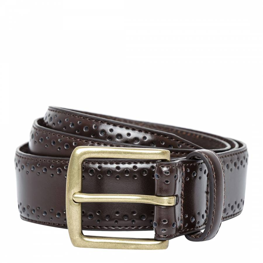 Brown Leather Brogue Belt Brandalley