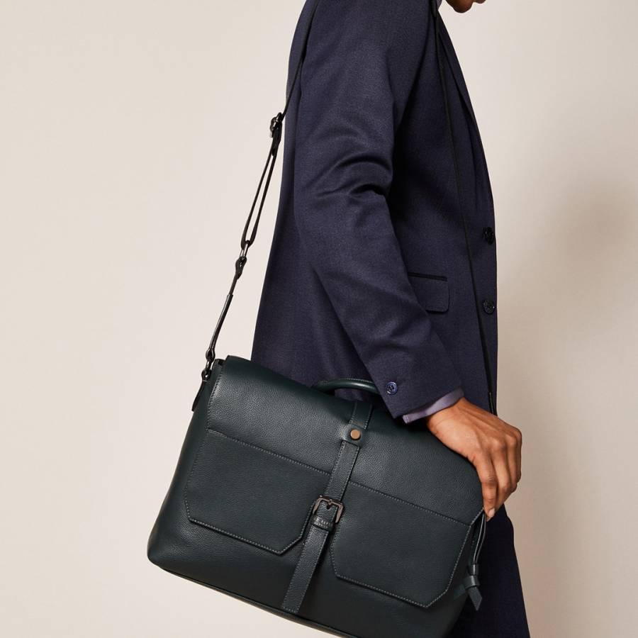 e952b650ed4 TED BAKER Men's Dark Green Leather Document Laptop Satchel Bag | eBay