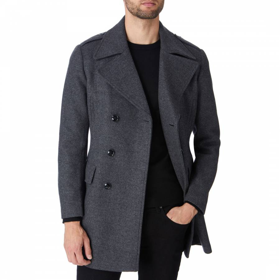 Image of Charcoal Double Breasted Wool Blend Coat