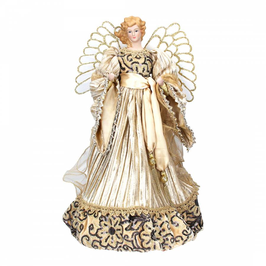Image of Cream/Gold Angel Large Ornament