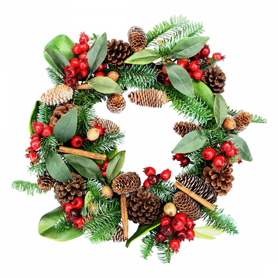 Image of Fir/Leaf Wreath with Cones Red Berries & Cinnamon