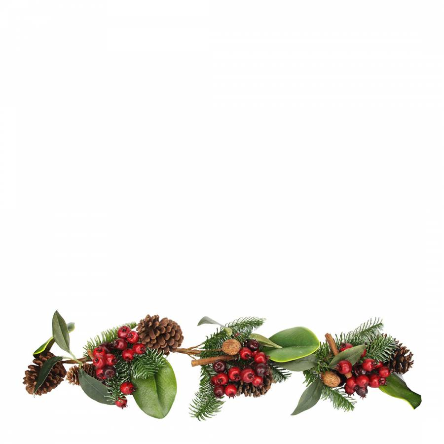 Image of Fir/Leaf Garland with Cones Red Berries & Cinnamon