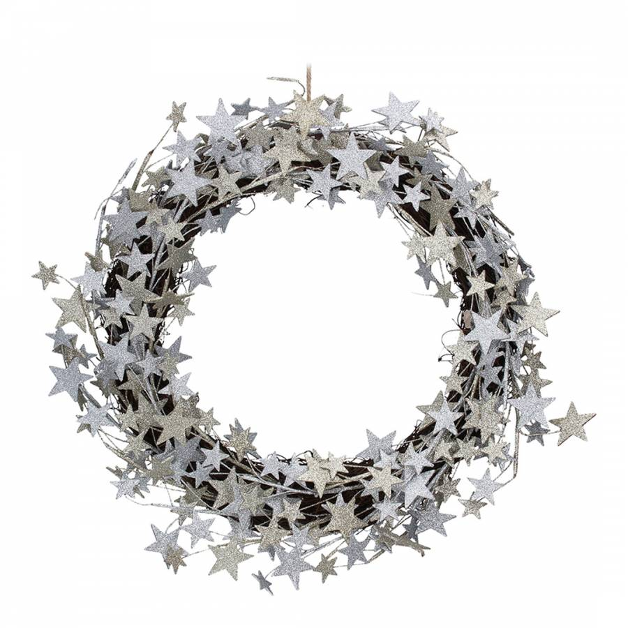 Image of Gold/Silver Glitter Stars On Twig Wreath