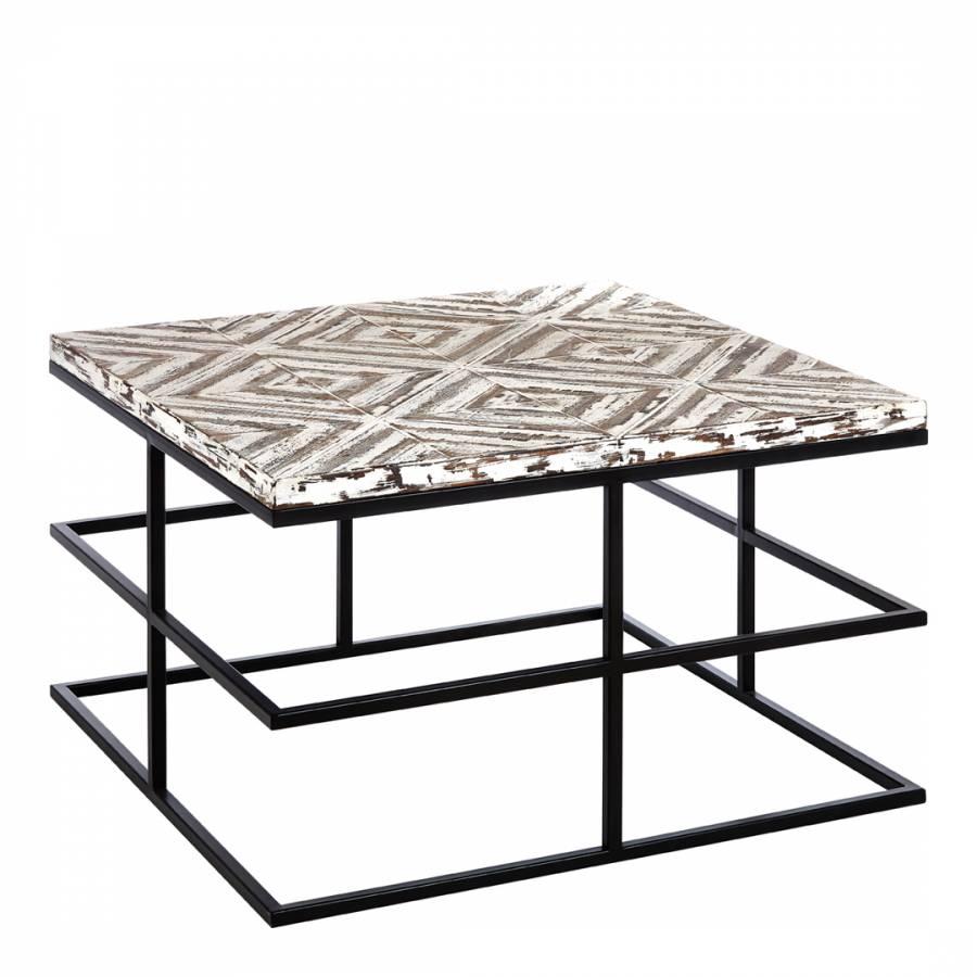 Lombok Coffee Table, Wood Top, Metal Frame - BrandAlley