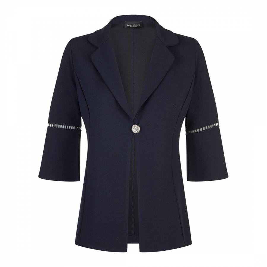 Image of Navy Anita Pleat Sleeve Jacket