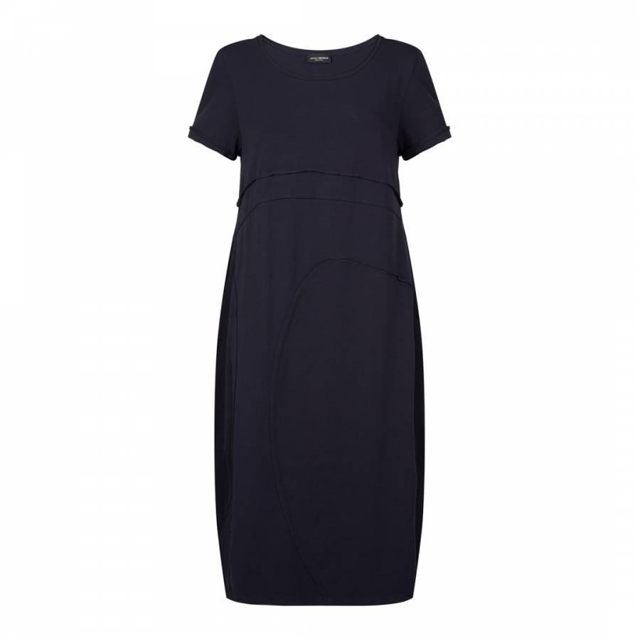 Image of Navy Cotton Midi Dress