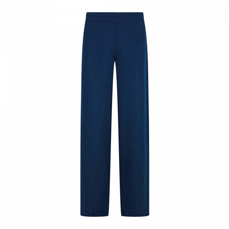 Image of Navy Wide Leg Linen Trousers