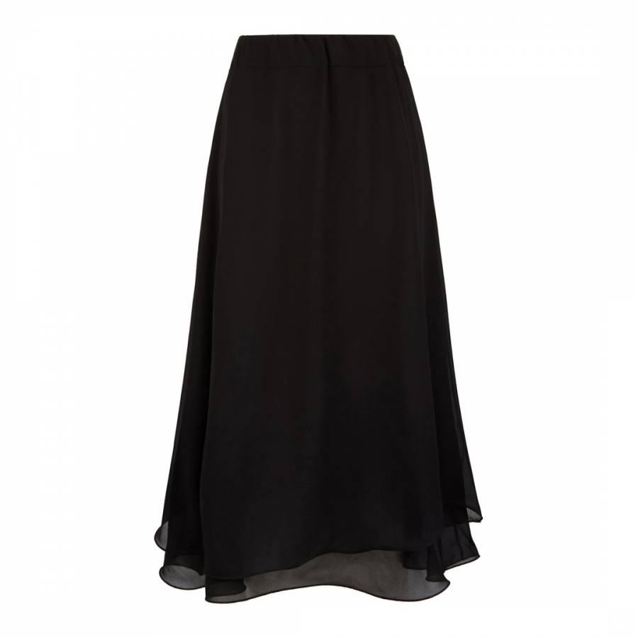 Image of Black Wave Hem Midi Skirt