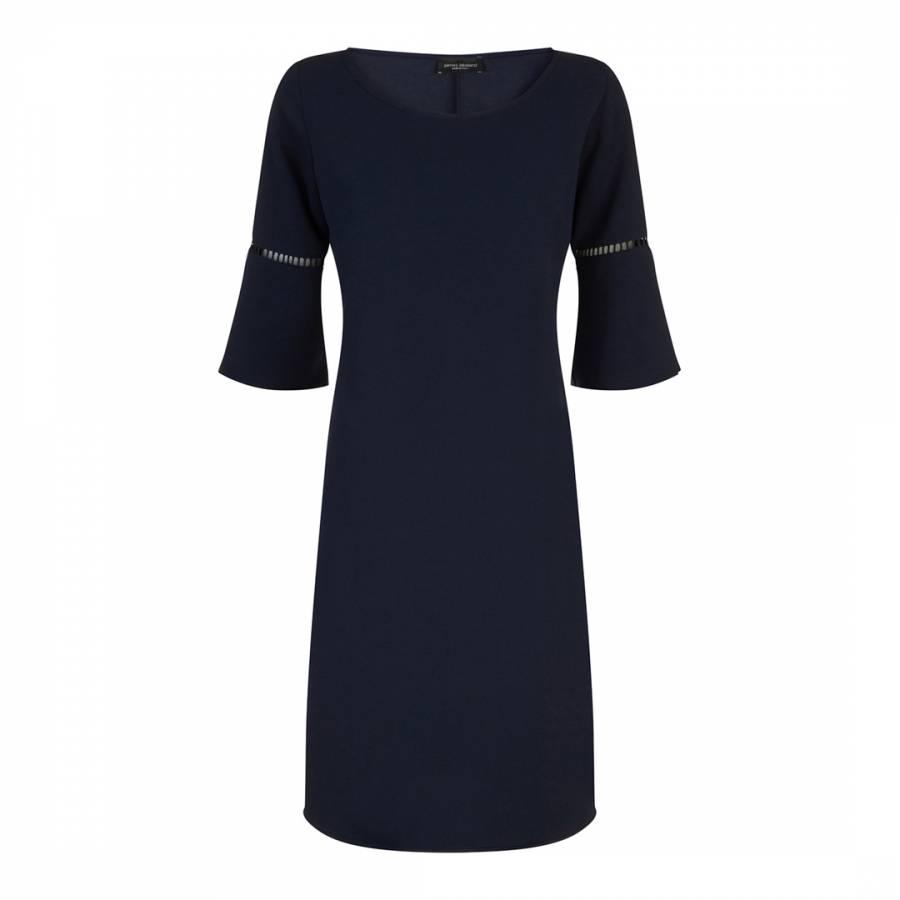 Image of Navy Anita Pleat Sleeve Dress