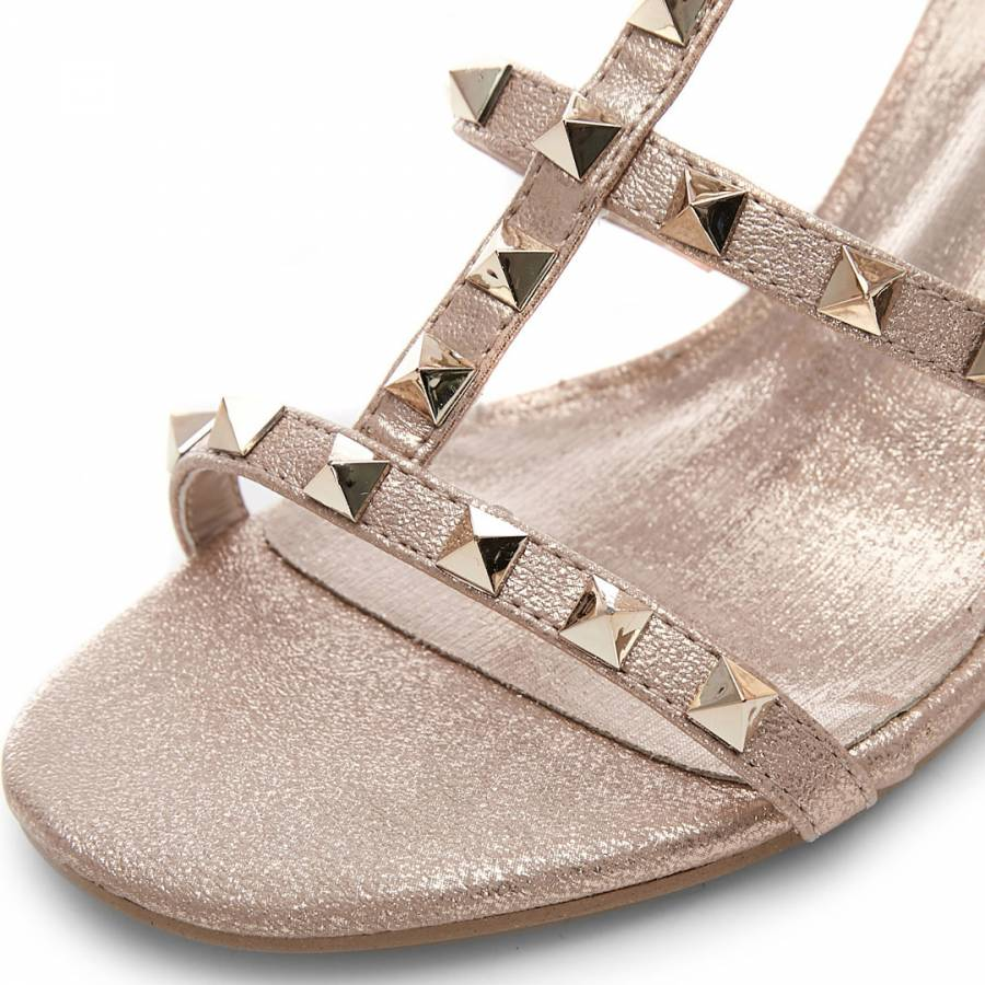 288cefc46be3d Mima Rose Gold Porvair Studded Heeled Sandal - BrandAlley