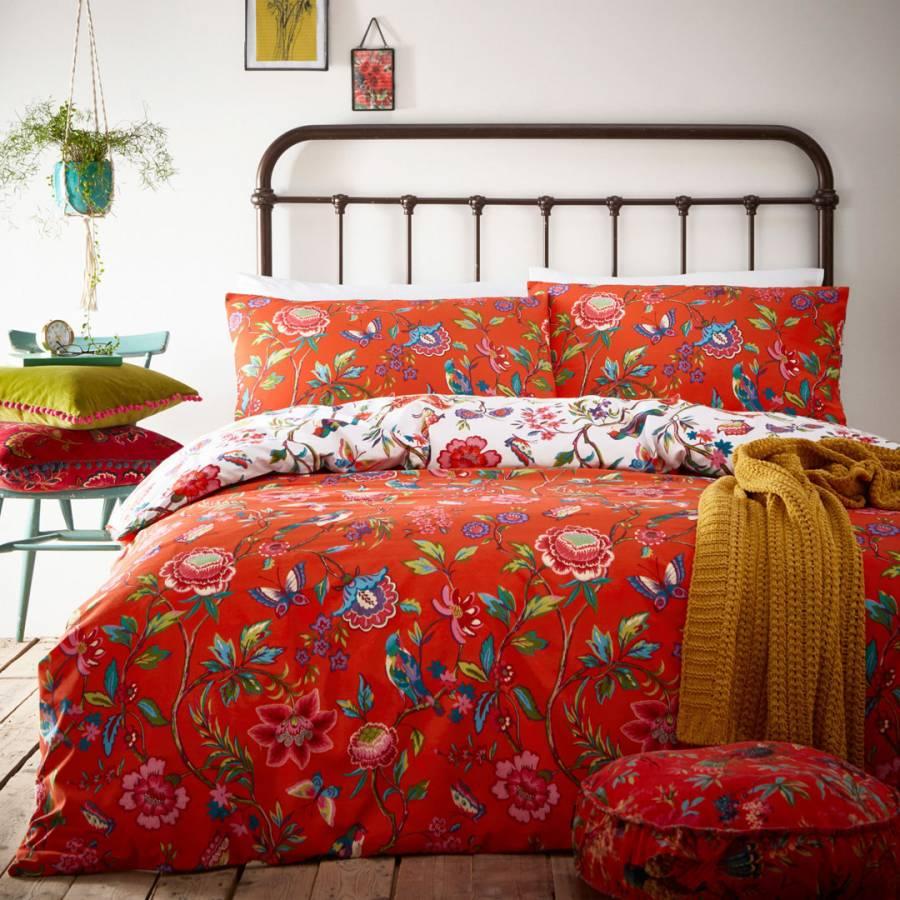 Red/ Orange Queen-size 3-piece Duvet Cover Set (India ...  Orange Duvet Cover