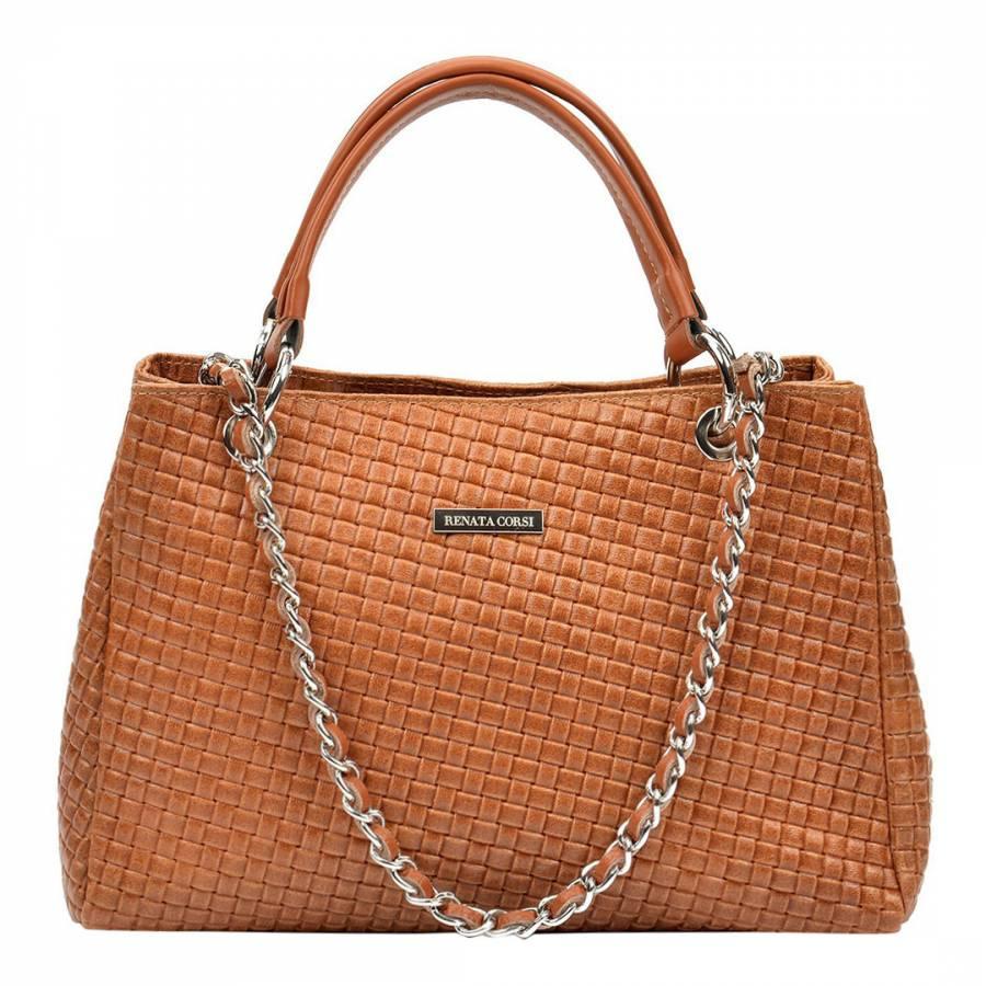 44db7f152 Renata Corsi Cognac Leather Shoulder Bag