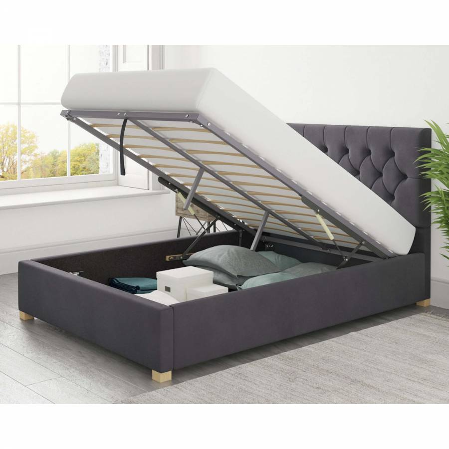 Olivier Plush Velvet Ottoman Bed Steel Small Double 4