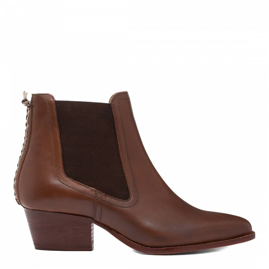 Image of Brown Avery Leather Ankle Boot
