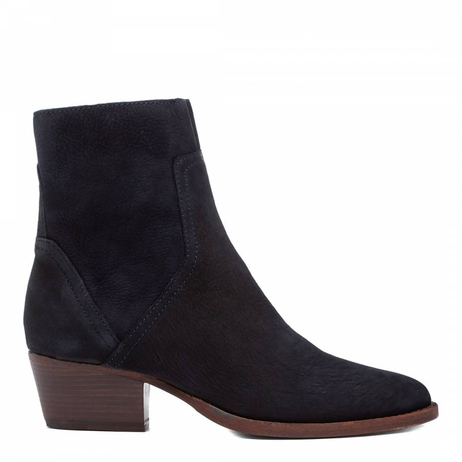 Image of Navy Beryl Nubuck Leather Ankle Boot