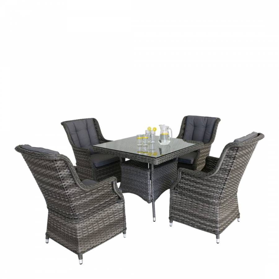 Square Dining Chairs: Victoria 4 Seat Square Dining Set With Square Chairs