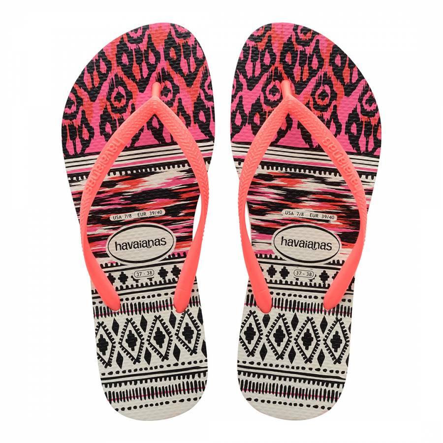 6943a5c439f Coral & White Slim Tribal Flip Flop - BrandAlley