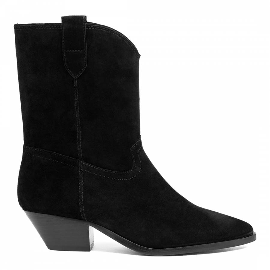 Image of Black Foxy Suede Mid Calf Boots