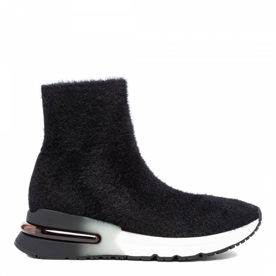Image of Black King Mohair Knit Sneakers