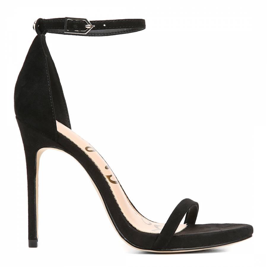 Black Ariella Suede Anke Strap Sandals