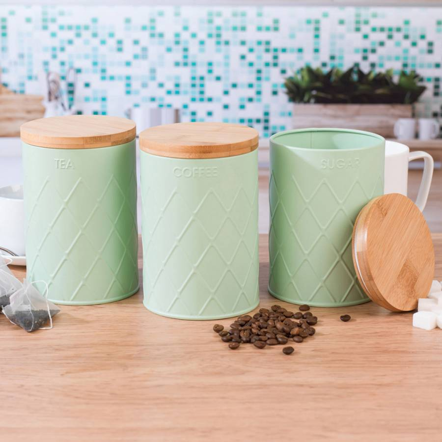 3 Piece Mint Green Embossed Round Kitchen Canisters - BrandAlley