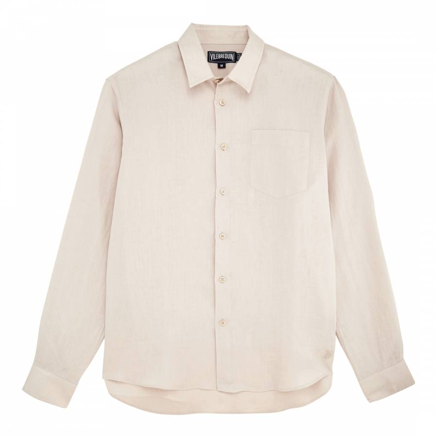 Image of Beige Long Sleeve Fitted Shirt