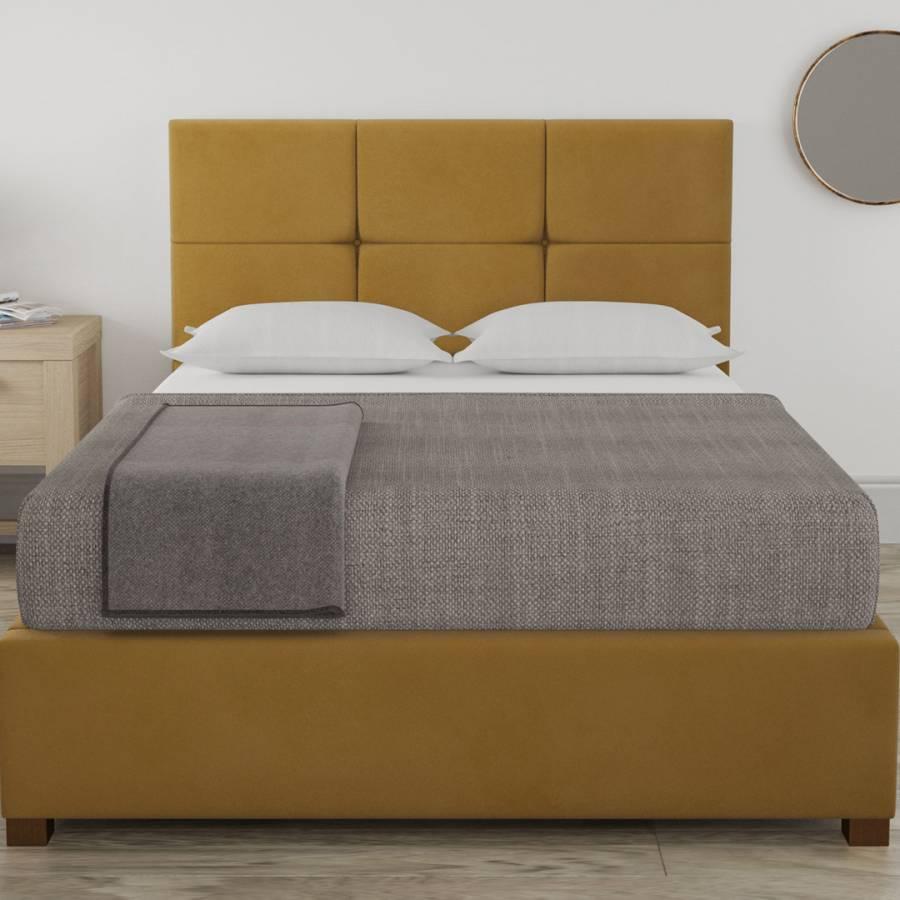 Strange Farringdon Plush Velvet Ottoman Bed Plush Velvet Ochre Ibusinesslaw Wood Chair Design Ideas Ibusinesslaworg