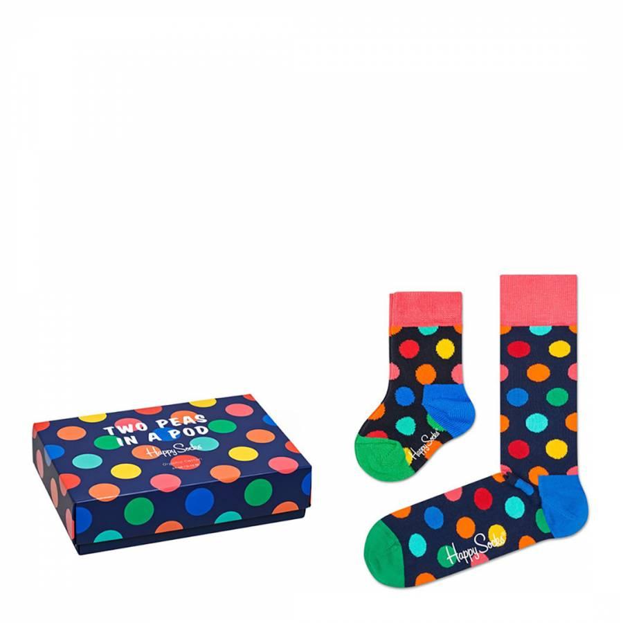 0-12 Happy Socks 2 Peas in a Pod Socks Gift Box Blue,Red,White 36-40