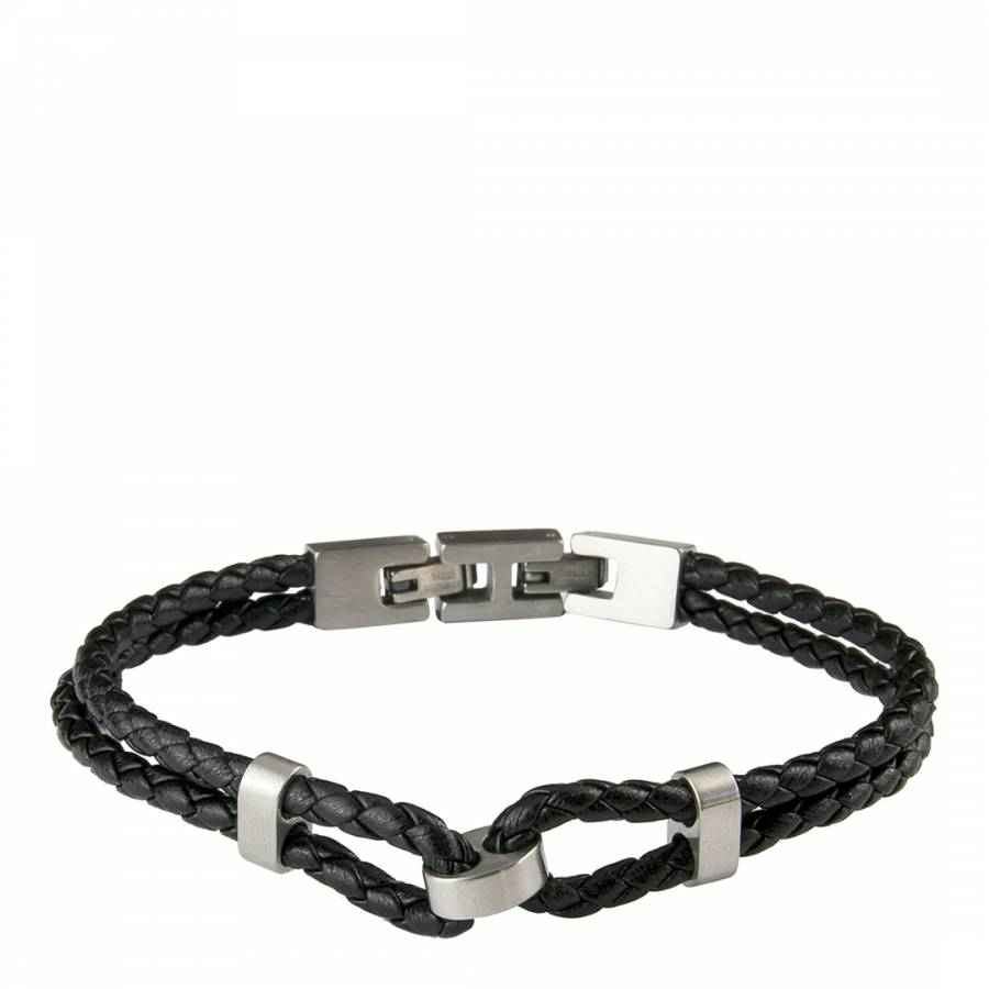 Image of Men's Black Leather Braided Bracelet