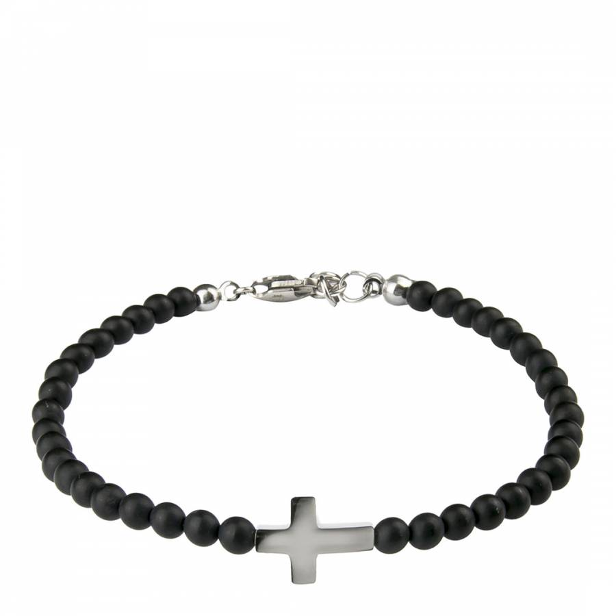 Image of Men's Black Bead Cross Bracelet