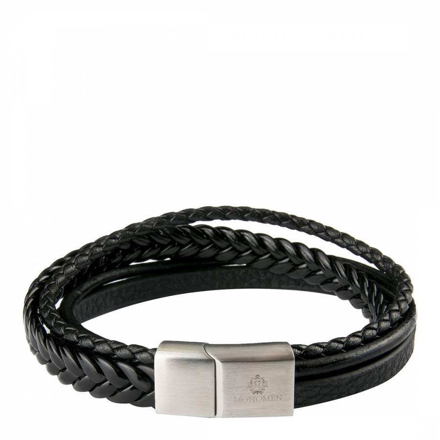 Image of Men's Black Leather Braid Bracelet