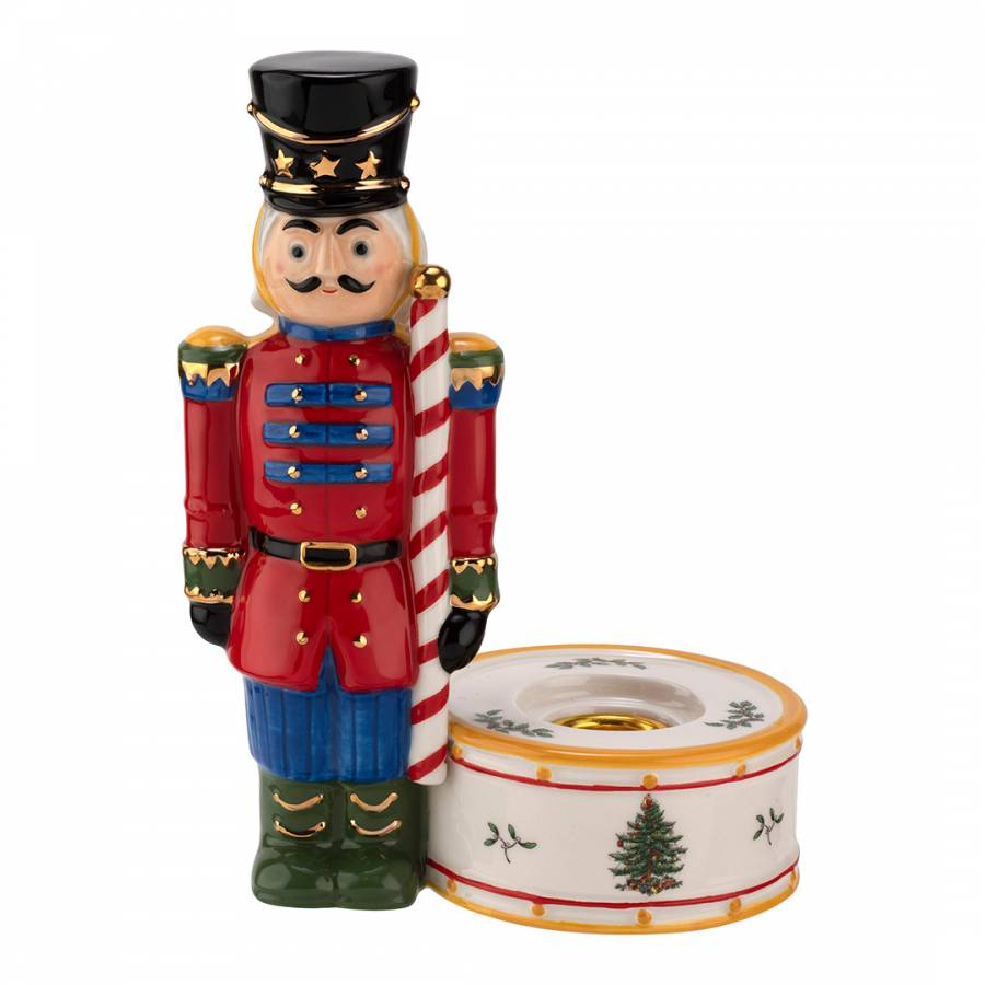 Spode Christmas Tree Candle Holder: Christmas Tree Nutcracker Candle Holder Red